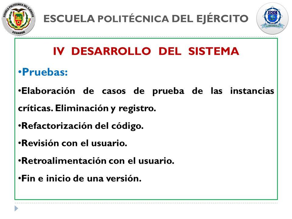 ESCUELA POLITÉCNICA DEL EJÉRCITO IV DESARROLLO DEL SISTEMA Pruebas: Elaboración de casos de prueba de las instancias críticas. Eliminación y registro.