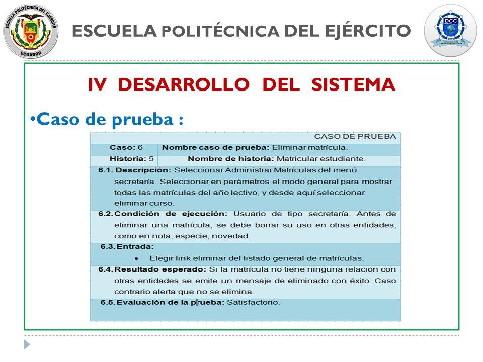 ESCUELA POLITÉCNICA DEL EJÉRCITO IV DESARROLLO DEL SISTEMA Caso de prueba :