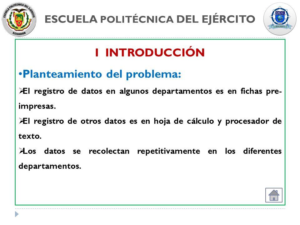 ESCUELA POLITÉCNICA DEL EJÉRCITO I INTRODUCCIÓN Planteamiento del problema: El registro de datos en algunos departamentos es en fichas pre- impresas.