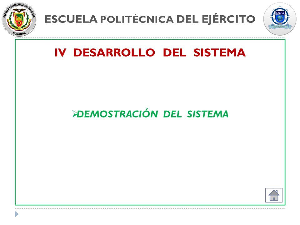 ESCUELA POLITÉCNICA DEL EJÉRCITO IV DESARROLLO DEL SISTEMA DEMOSTRACIÓN DEL SISTEMA