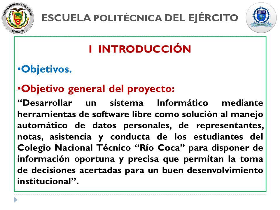 ESCUELA POLITÉCNICA DEL EJÉRCITO I INTRODUCCIÓN Objetivos. Objetivo general del proyecto: Desarrollar un sistema Informático mediante herramientas de