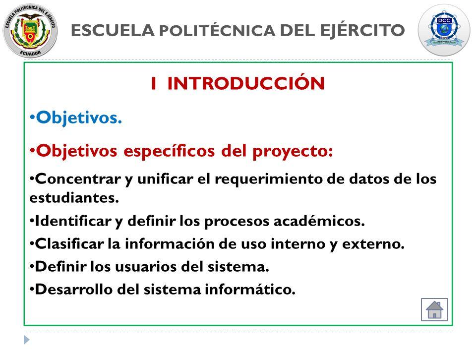 ESCUELA POLITÉCNICA DEL EJÉRCITO I INTRODUCCIÓN Objetivos. Objetivos específicos del proyecto: Concentrar y unificar el requerimiento de datos de los