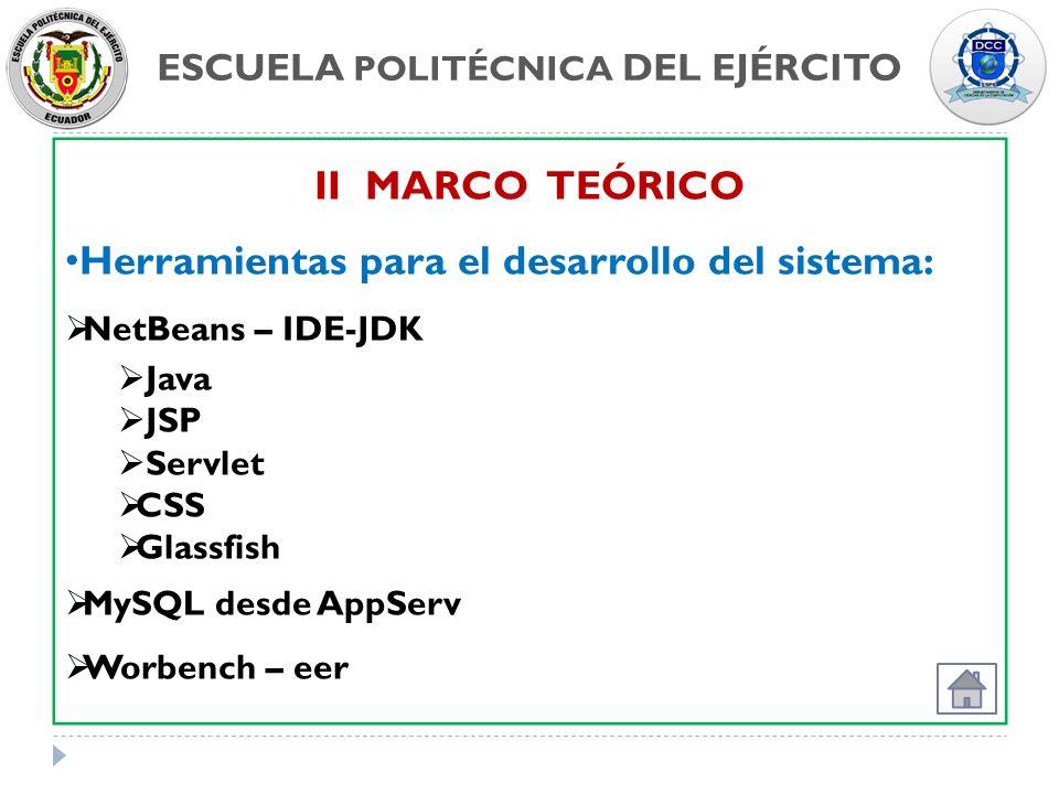 ESCUELA POLITÉCNICA DEL EJÉRCITO II MARCO TEÓRICO Herramientas para el desarrollo del sistema: NetBeans – IDE-JDK Java JSP Servlet CSS Glassfish MySQL
