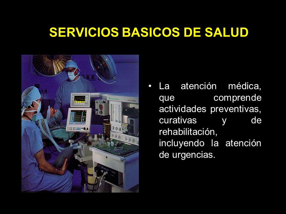 SERVICIOS BASICOS DE SALUD La prevención y el control de las enfermedades transmisibles de atención prioritaria, de las no transmisibles más frecuentes y de los accidentes.