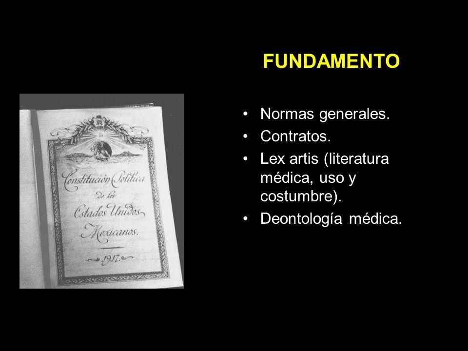 FUNDAMENTO Normas generales.Contratos. Lex artis (literatura médica, uso y costumbre).