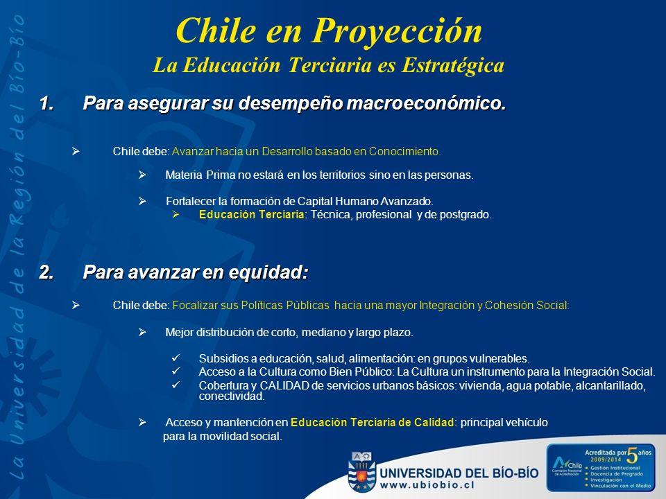 Chile en Proyección La Educación Terciaria es Estratégica 1.Para asegurar su desempeño macroeconómico. Chile debe: Avanzar hacia un Desarrollo basado