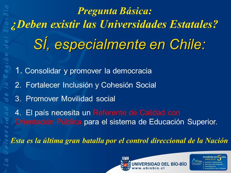 Pregunta Básica: ¿Deben existir las Universidades Estatales? SÍ, especialmente en Chile: 1. Consolidar y promover la democracia 2. Fortalecer Inclusió