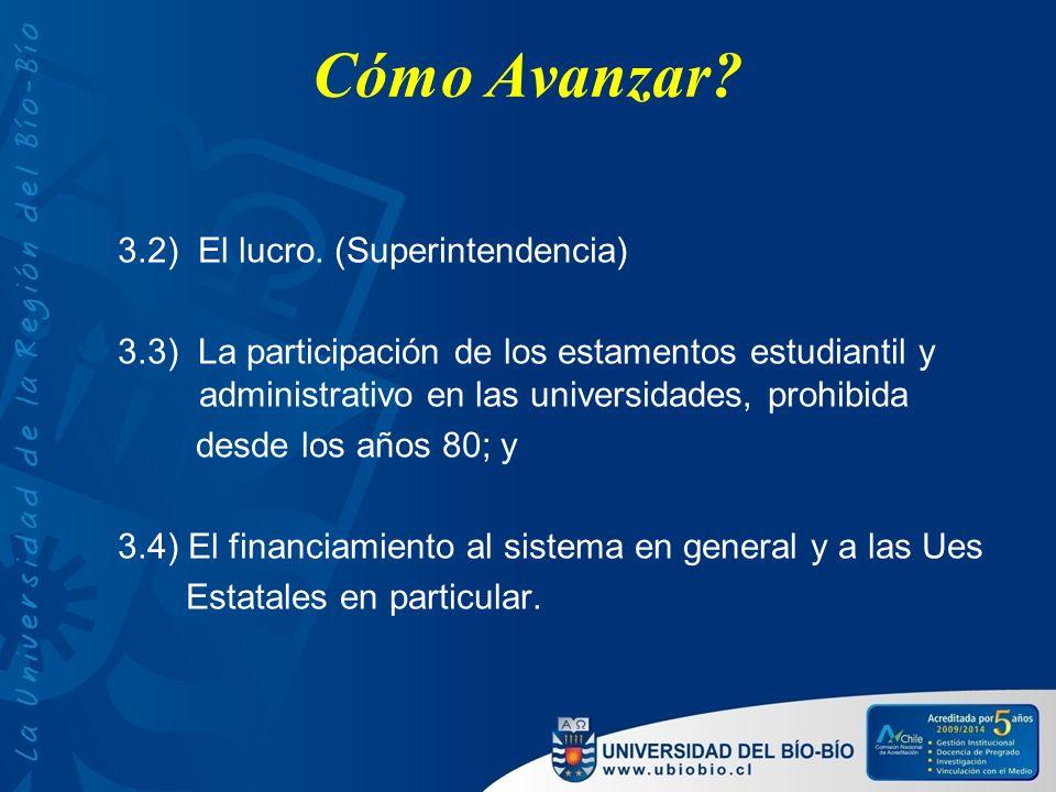 Cómo Avanzar? 3.2) El lucro. (Superintendencia) 3.3) La participación de los estamentos estudiantil y administrativo en las universidades, prohibida d