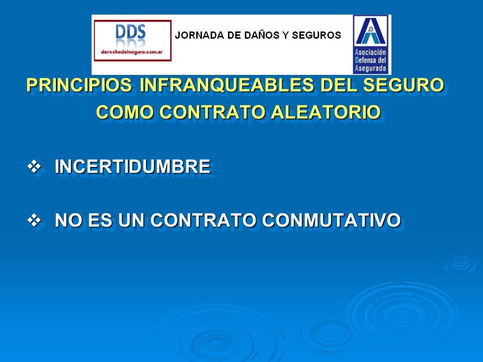 . PRINCIPIOS INFRANQUEABLES DEL SEGURO COMO CONTRATO ALEATORIO INCERTIDUMBRE INCERTIDUMBRE NO ES UN CONTRATO CONMUTATIVO NO ES UN CONTRATO CONMUTATIVO PRINCIPIOS INFRANQUEABLES DEL SEGURO COMO CONTRATO ALEATORIO INCERTIDUMBRE INCERTIDUMBRE NO ES UN CONTRATO CONMUTATIVO NO ES UN CONTRATO CONMUTATIVO