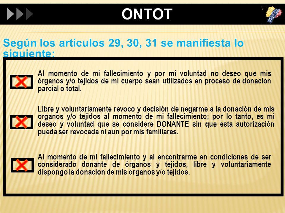 Según los artículos 29, 30, 31 se manifiesta lo siguiente: Al momento de mi fallecimiento y por mi voluntad no deseo que mis órganos y/o tejidos de mi