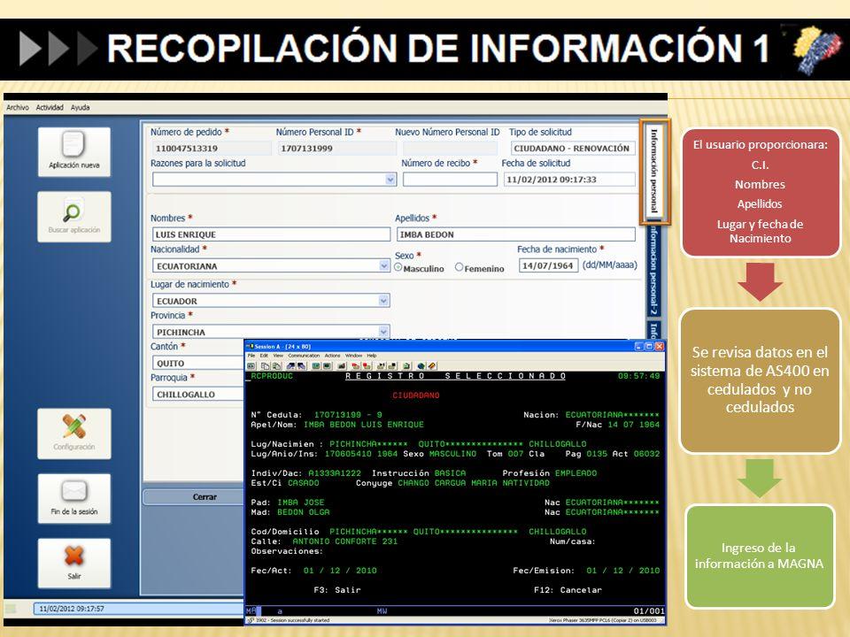 El usuario proporcionara: C.I. Nombres Apellidos Lugar y fecha de Nacimiento Se revisa datos en el sistema de AS400 en cedulados y no cedulados Ingres