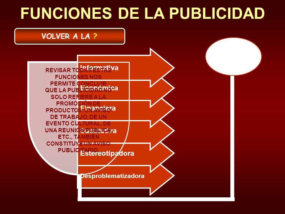 Desproblematizadora Estereotipadora Sustitutiva Financiera Económica Informativa FUNCIONES DE LA PUBLICIDAD REVISAR TODAS ESTAS FUNCIONES NOS PERMITE