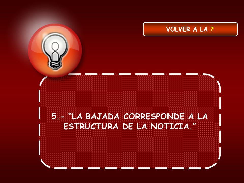 5.- LA BAJADA CORRESPONDE A LA ESTRUCTURA DE LA NOTICIA. VOLVER A LA ?
