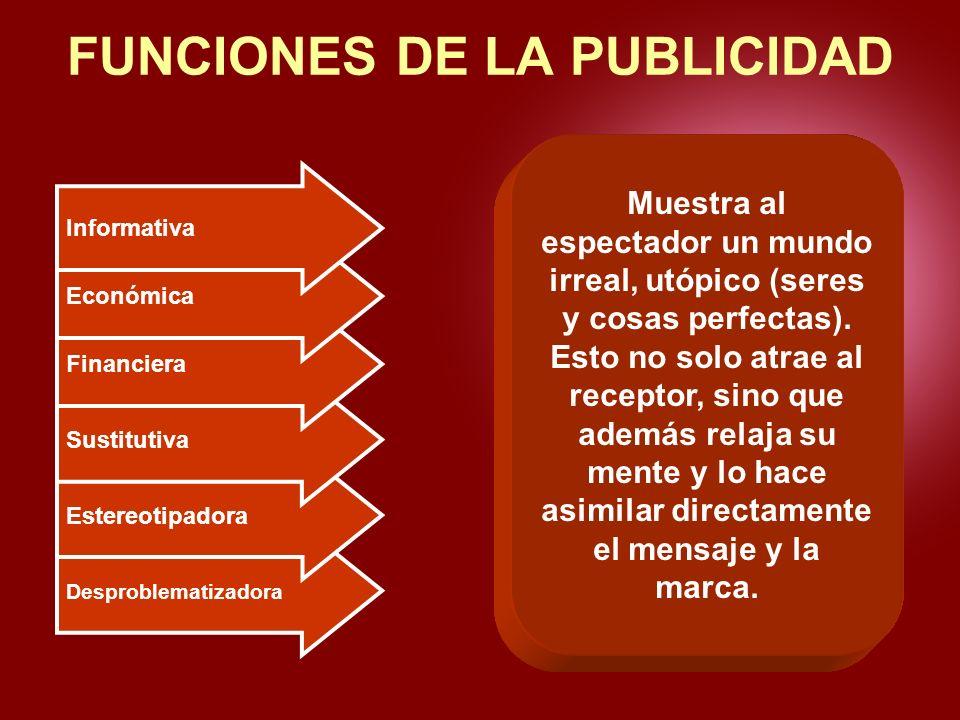 Desproblematizadora Estereotipadora Sustitutiva Financiera Económica Informativa FUNCIONES DE LA PUBLICIDAD Dar a conocer un producto o servicio o las