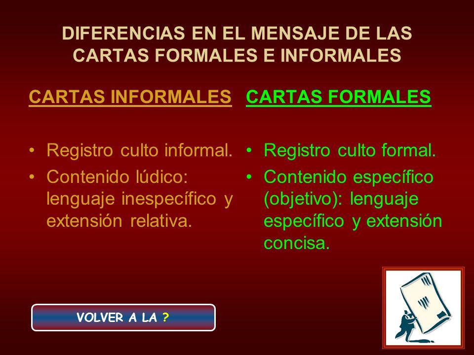 DIFERENCIAS EN EL MENSAJE DE LAS CARTAS FORMALES E INFORMALES CARTAS INFORMALES Registro culto informal. Contenido lúdico: lenguaje inespecífico y ext
