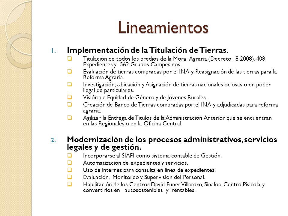 Lineamientos 1. Implementación de la Titulación de Tierras.