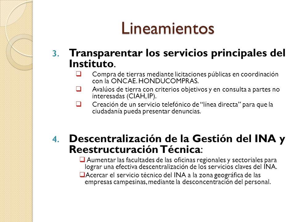 Lineamientos 3. Transparentar los servicios principales del Instituto.