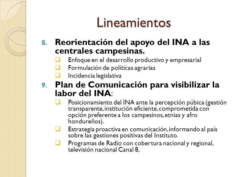 Lineamientos 8. Reorientación del apoyo del INA a las centrales campesinas.