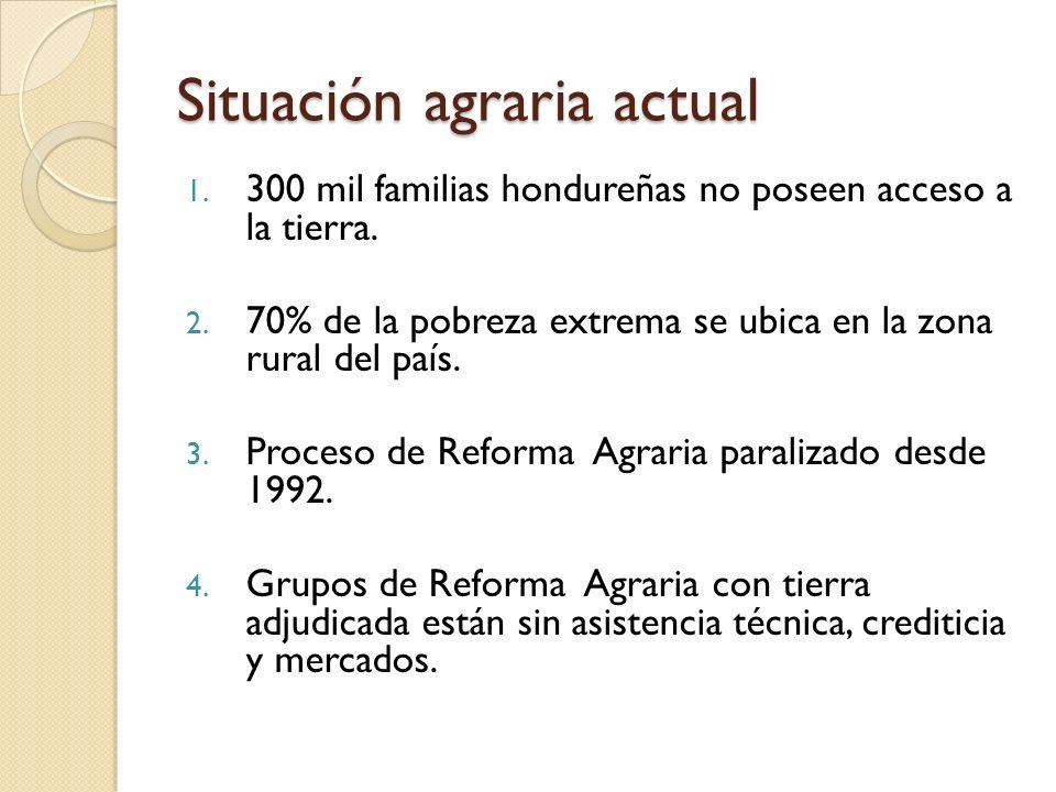 Situación agraria actual 1. 300 mil familias hondureñas no poseen acceso a la tierra.