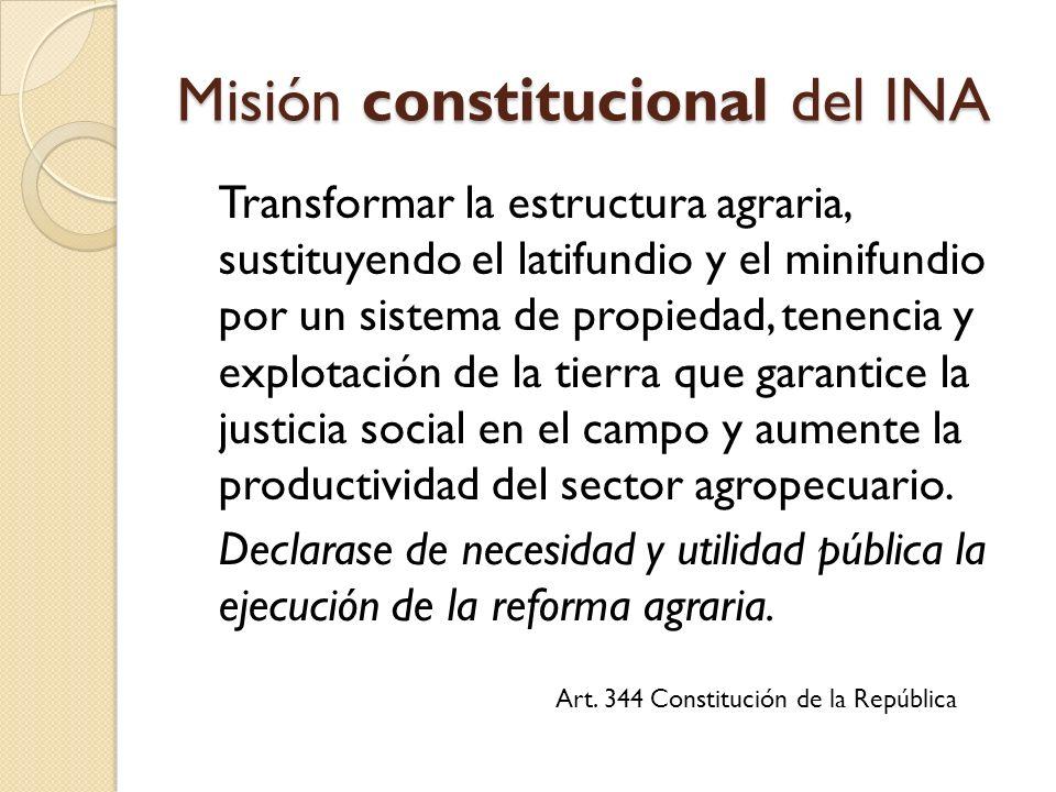 Misión constitucional del INA Transformar la estructura agraria, sustituyendo el latifundio y el minifundio por un sistema de propiedad, tenencia y explotación de la tierra que garantice la justicia social en el campo y aumente la productividad del sector agropecuario.