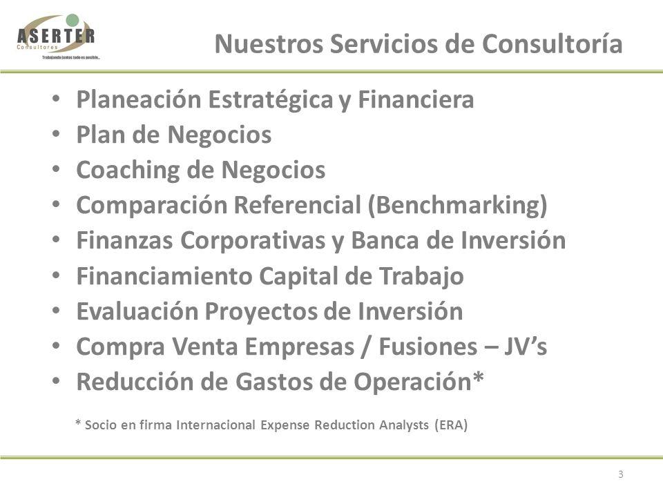 Planeación Estratégica y Financiera Plan de Negocios Coaching de Negocios Comparación Referencial (Benchmarking) Finanzas Corporativas y Banca de Inversión Financiamiento Capital de Trabajo Evaluación Proyectos de Inversión Compra Venta Empresas / Fusiones – JVs Reducción de Gastos de Operación* * Socio en firma Internacional Expense Reduction Analysts (ERA) Nuestros Servicios de Consultoría 3