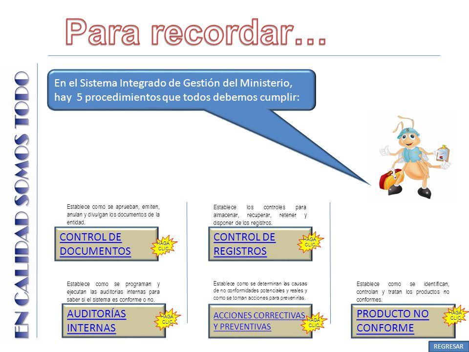 Establece como se aprueban, emiten, anulan y divulgan los documentos de la entidad. CONTROL DE DOCUMENTOS En el Sistema Integrado de Gestión del Minis