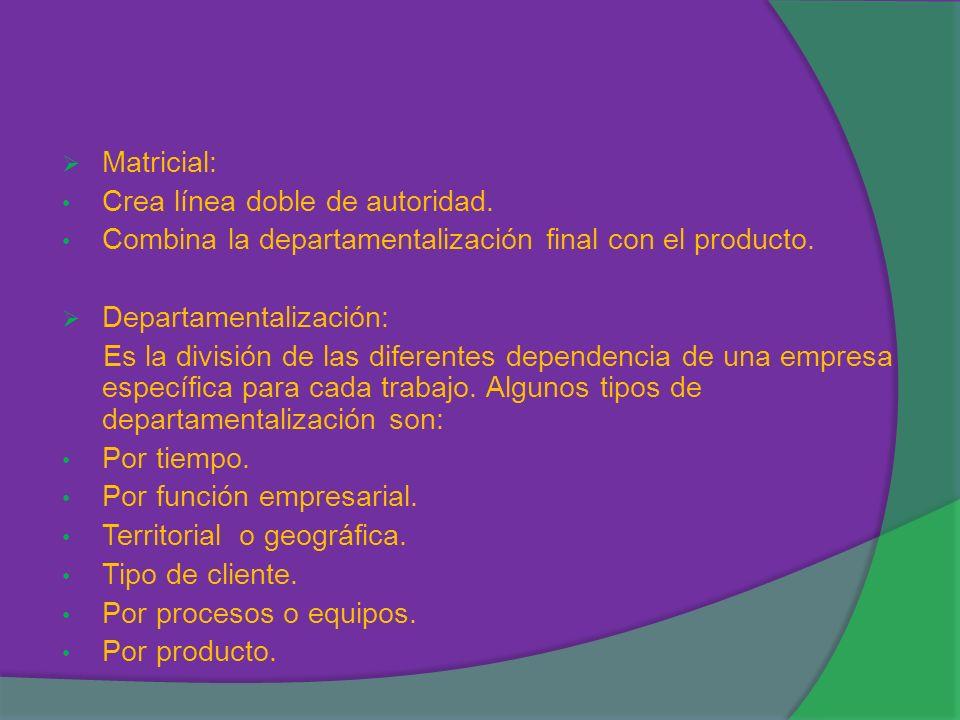 Matricial: Crea línea doble de autoridad. Combina la departamentalización final con el producto. Departamentalización: Es la división de las diferente