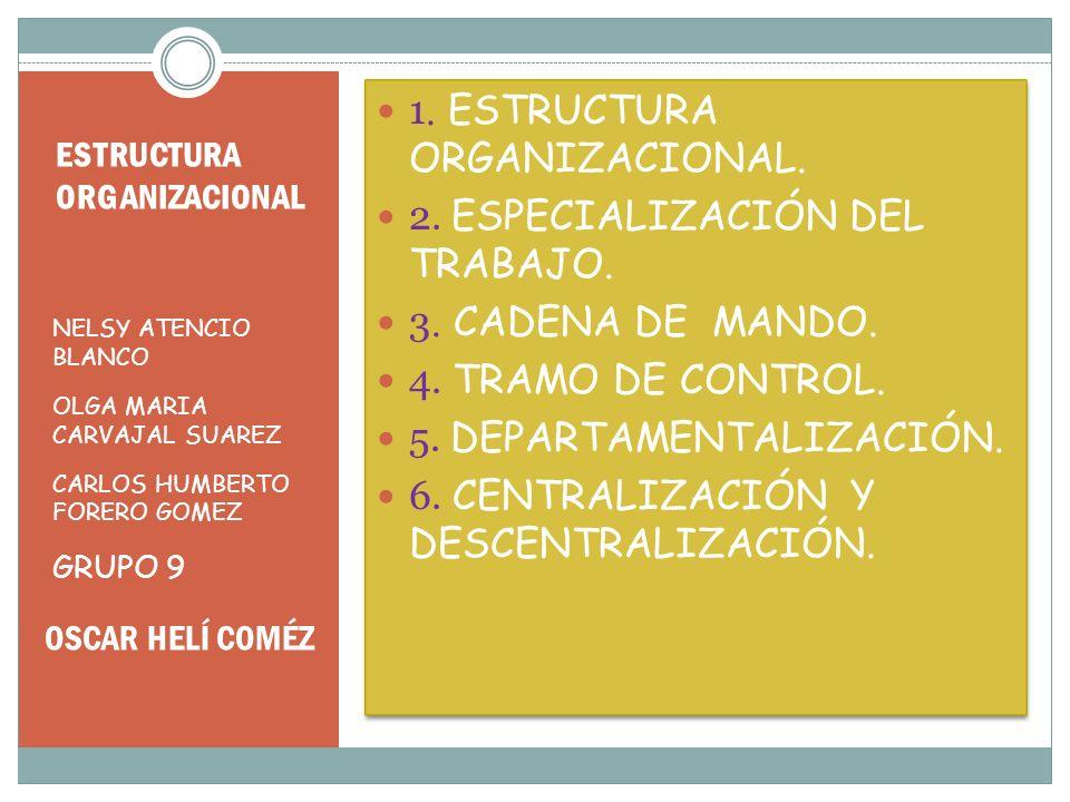 ESTRUCTURA ORGANIZACIONAL NELSY ATENCIO BLANCO OLGA MARIA CARVAJAL SUAREZ CARLOS HUMBERTO FORERO GOMEZ GRUPO 9 1. ESTRUCTURA ORGANIZACIONAL. 2. ESPECI