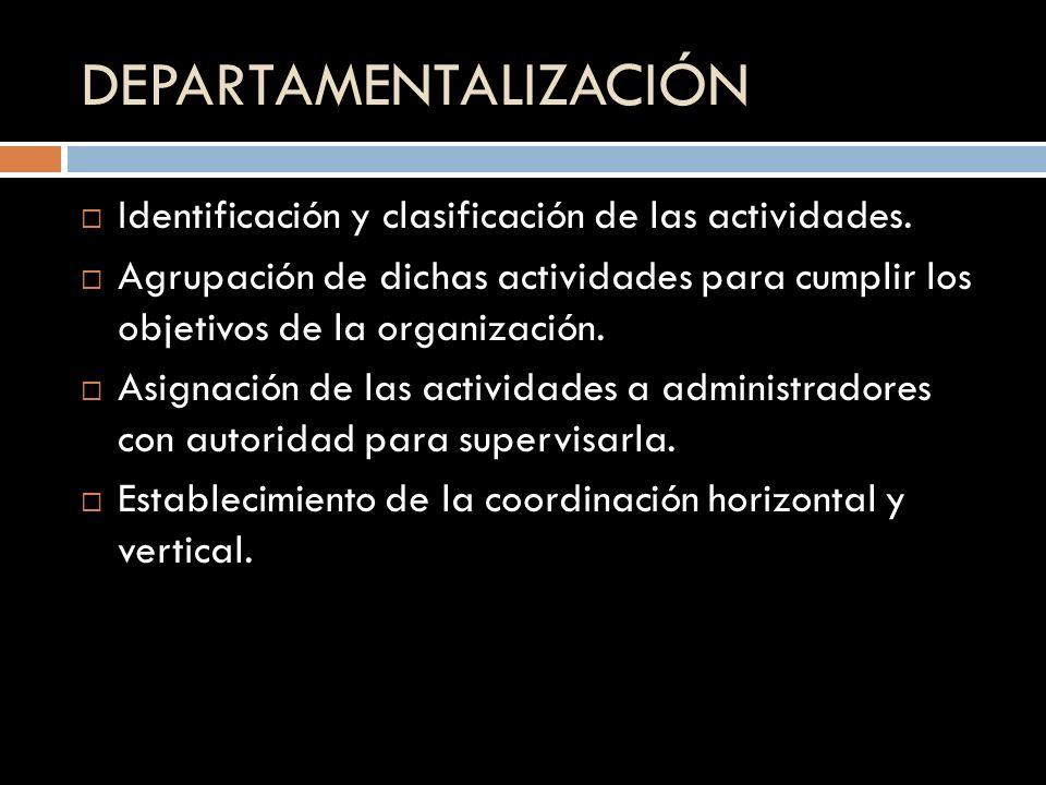 DEPARTAMENTALIZACIÓN Identificación y clasificación de las actividades. Agrupación de dichas actividades para cumplir los objetivos de la organización