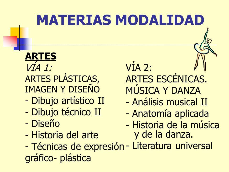 MATERIAS MODALIDAD ARTES VÍA 1: ARTES PLÁSTICAS, IMAGEN Y DISEÑO - Dibujo artístico II - Dibujo técnico II - Diseño - Historia del arte - Técnicas de