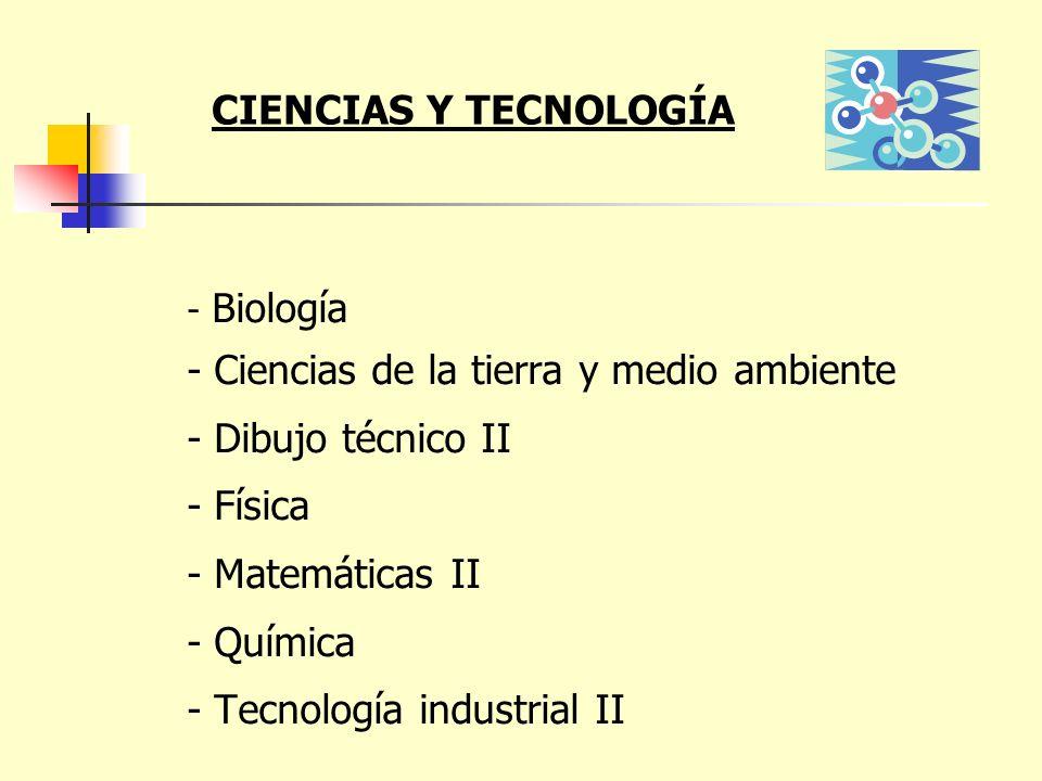 - Biología - Ciencias de la tierra y medio ambiente - Dibujo técnico II - Física - Matemáticas II - Química - Tecnología industrial II CIENCIAS Y TECN