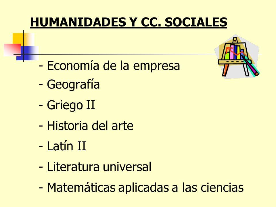 - Economía de la empresa - Geografía - Griego II - Historia del arte - Latín II - Literatura universal - Matemáticas aplicadas a las ciencias HUMANIDA