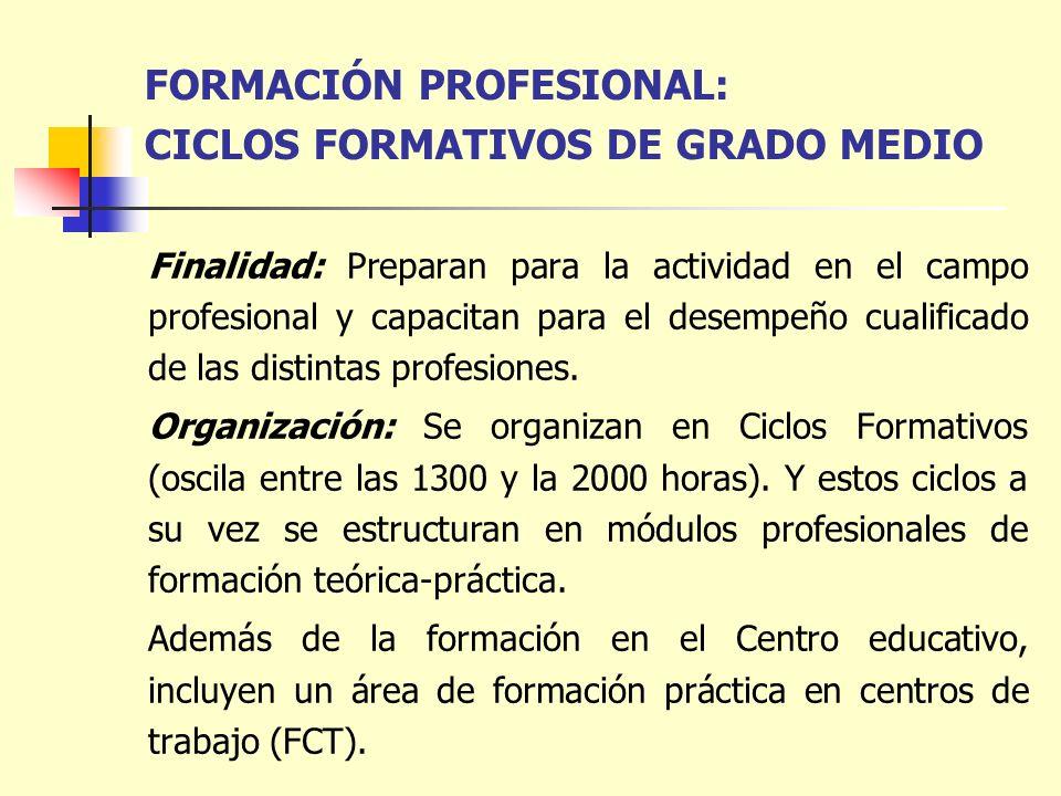 FORMACIÓN PROFESIONAL: CICLOS FORMATIVOS DE GRADO MEDIO Finalidad: Preparan para la actividad en el campo profesional y capacitan para el desempeño cu