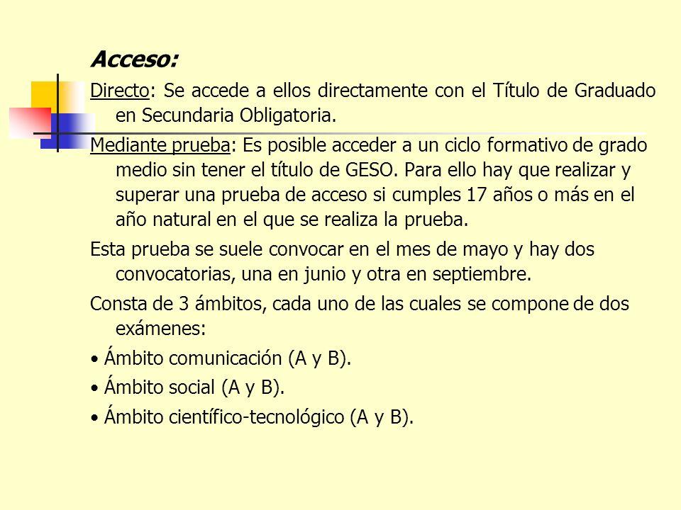 Acceso: Directo: Se accede a ellos directamente con el Título de Graduado en Secundaria Obligatoria. Mediante prueba: Es posible acceder a un ciclo fo