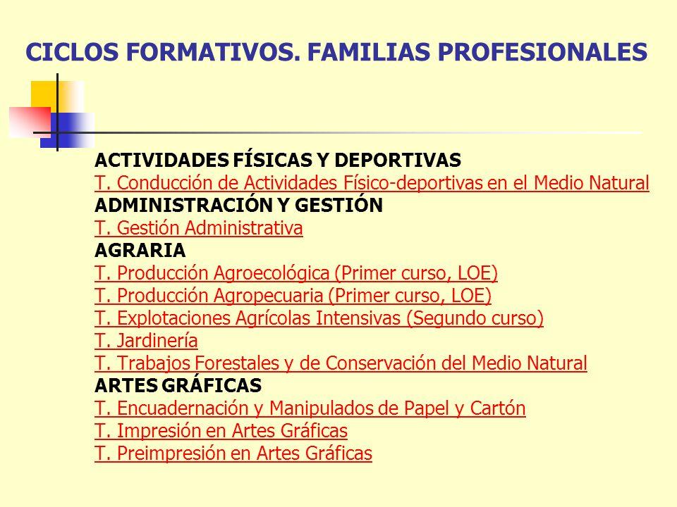 CICLOS FORMATIVOS. FAMILIAS PROFESIONALES ACTIVIDADES FÍSICAS Y DEPORTIVAS T. Conducción de Actividades Físico-deportivas en el Medio Natural ADMINIST