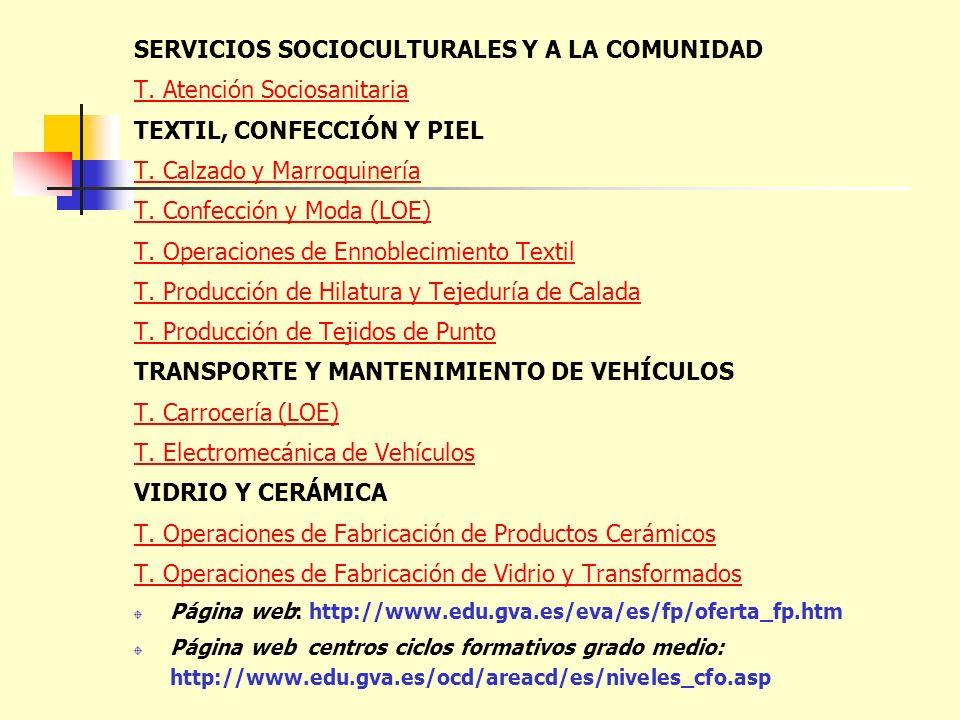SERVICIOS SOCIOCULTURALES Y A LA COMUNIDAD T. Atención Sociosanitaria TEXTIL, CONFECCIÓN Y PIEL T. Calzado y Marroquinería T. Confección y Moda (LOE)