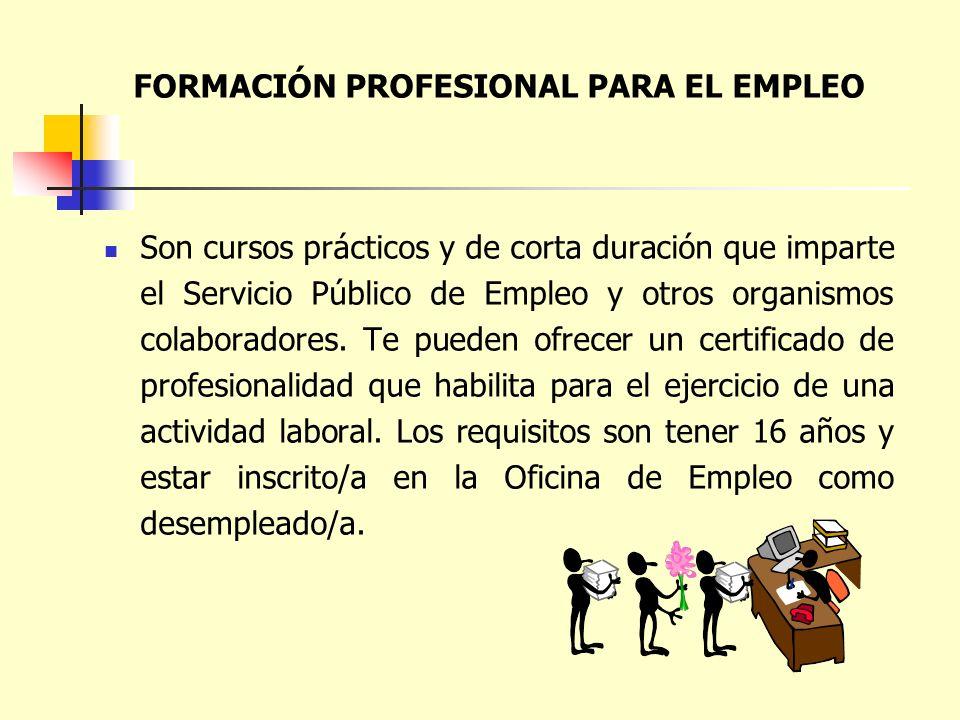 FORMACIÓN PROFESIONAL PARA EL EMPLEO Son cursos prácticos y de corta duración que imparte el Servicio Público de Empleo y otros organismos colaborador