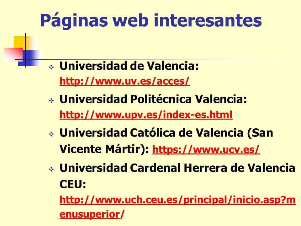 Páginas web interesantes Universidad de Valencia: http://www.uv.es/acces/ http://www.uv.es/acces/ Universidad Politécnica Valencia: http://www.upv.es/