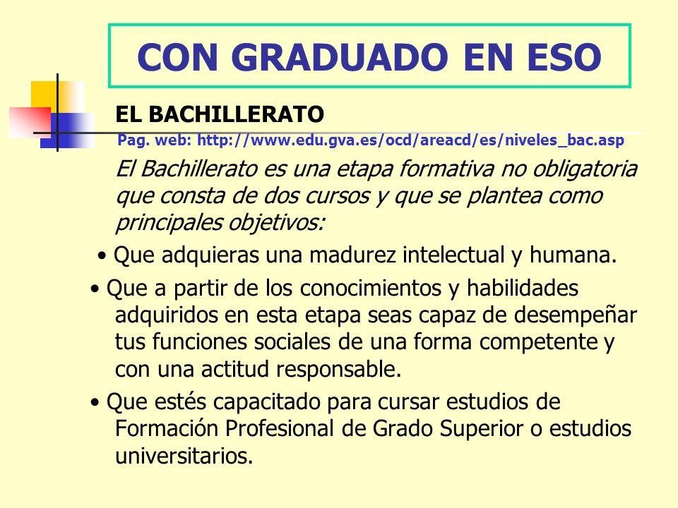 CON GRADUADO EN ESO EL BACHILLERATO Pag. web: http://www.edu.gva.es/ocd/areacd/es/niveles_bac.asp El Bachillerato es una etapa formativa no obligatori