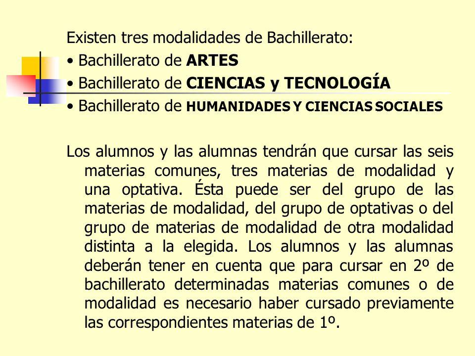 Existen tres modalidades de Bachillerato: Bachillerato de ARTES Bachillerato de CIENCIAS y TECNOLOGÍA Bachillerato de HUMANIDADES Y CIENCIAS SOCIALES
