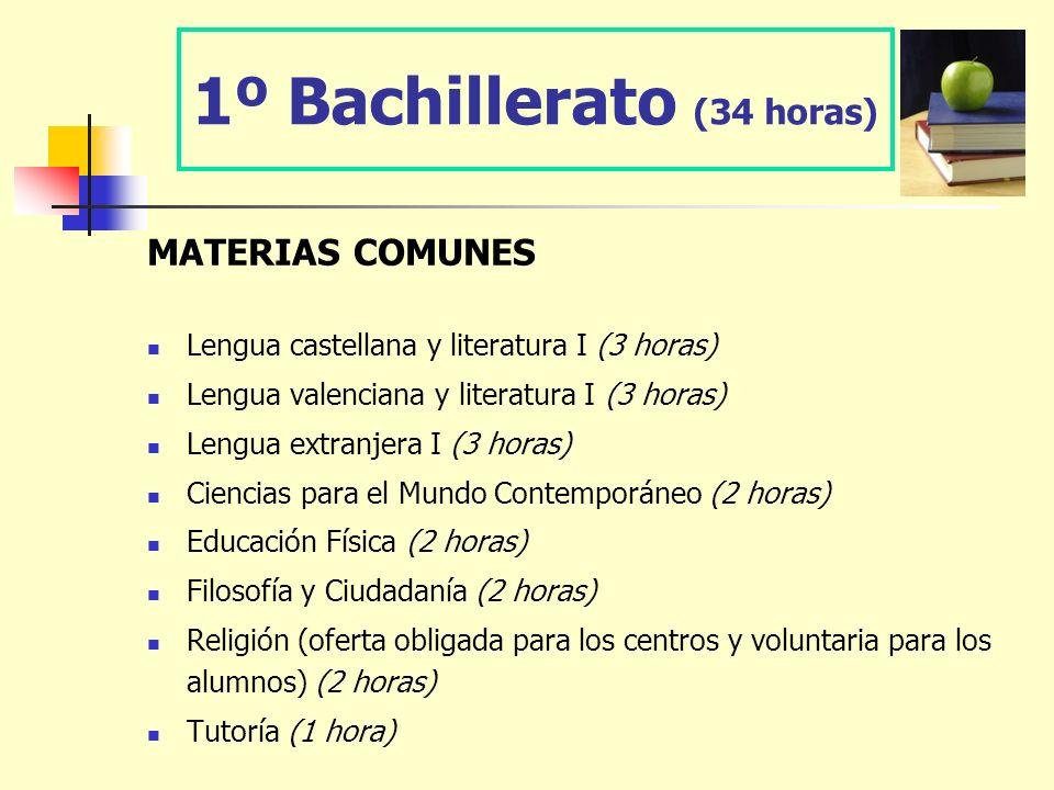 1º Bachillerato (34 horas) MATERIAS COMUNES Lengua castellana y literatura I (3 horas) Lengua valenciana y literatura I (3 horas) Lengua extranjera I