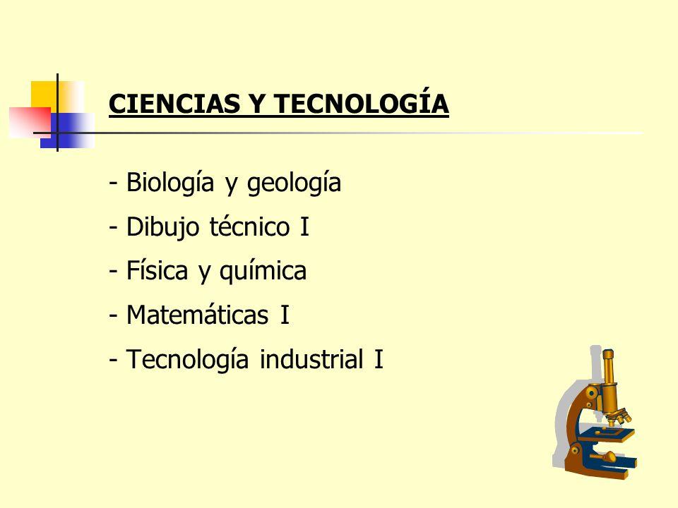 CIENCIAS Y TECNOLOGÍA - Biología y geología - Dibujo técnico I - Física y química - Matemáticas I - Tecnología industrial I
