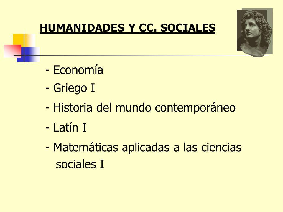 - Economía - Griego I - Historia del mundo contemporáneo - Latín I - Matemáticas aplicadas a las ciencias sociales I HUMANIDADES Y CC. SOCIALES