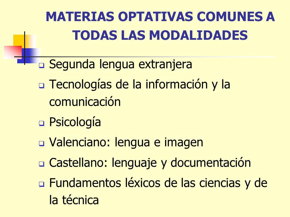 MATERIAS OPTATIVAS COMUNES A TODAS LAS MODALIDADES Segunda lengua extranjera Tecnologías de la información y la comunicación Psicología Valenciano: le