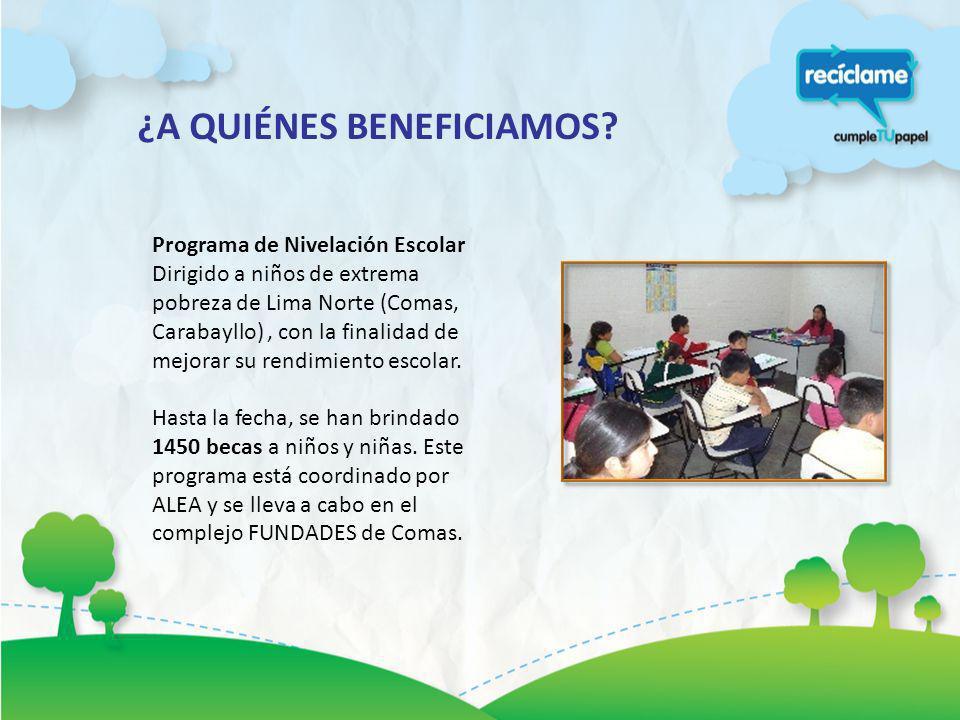 Programa de Nivelación Escolar Dirigido a niños de extrema pobreza de Lima Norte (Comas, Carabayllo), con la finalidad de mejorar su rendimiento escol