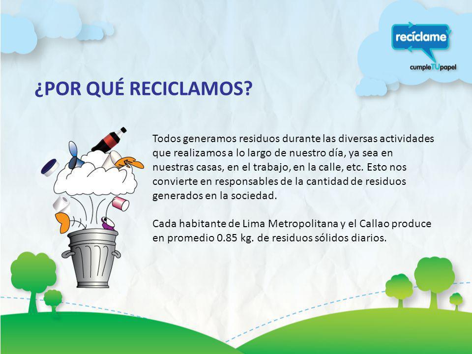 ¿POR QUÉ RECICLAMOS? Todos generamos residuos durante las diversas actividades que realizamos a lo largo de nuestro día, ya sea en nuestras casas, en
