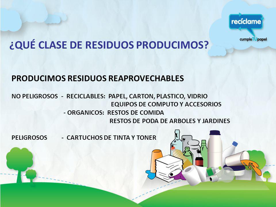 PRODUCIMOS RESIDUOS NO REAPROVECHABLES NO PELIGROSOS Y NO RECICLABLES - RESIDUOS DEL TOPICO - INSERVIBLES: POLVO, PAPEL Y CARTON PLASTIFICADO O CON RESTOS DE PEGAMENTO U OTROS COLILLAS, CIGARROS, RESIDUOS ORGANICOS COMBINADOS CON ANTERIORES PELIGROSOS - LAPICEROS, PLUMONES, MARCADORES, PILAS, FOCOS.