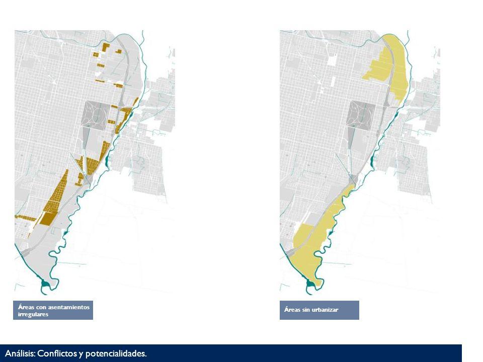 Análisis: Conflictos y potencialidades. Áreas con asentamientos irregulares Áreas sin urbanizar