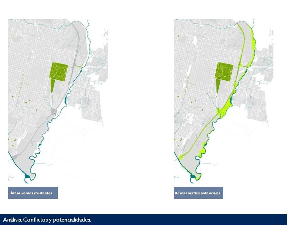 Áreas verdes existentesAéreas verdes potenciales Análisis: Conflictos y potencialidades.