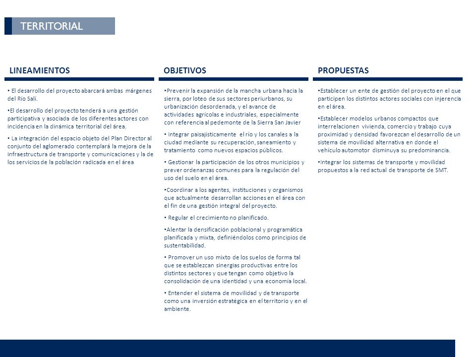 TERRITORIAL LINEAMIENTOS El desarrollo del proyecto abarcará ambas márgenes del Río Salí. El desarrollo del proyecto tenderá a una gestión participati
